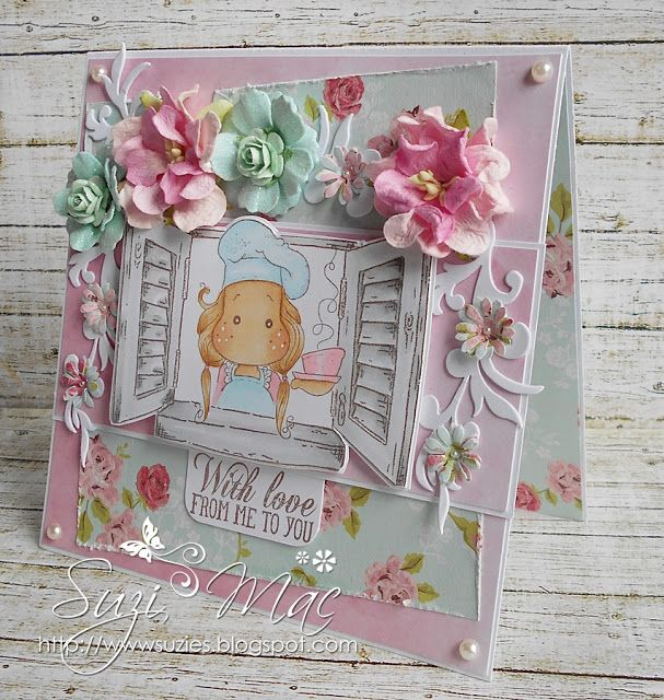 Any Occasion card using sweet Life is a Soup Tilda from www.magnoliastamps.us #cards #crafts #flowers #love #spectrumnoir #papercraft
