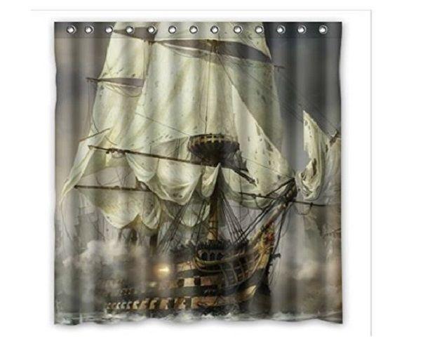 pirate bathroom decor ship waterproof polyester shower curtain durable 66 x 72 pirateship