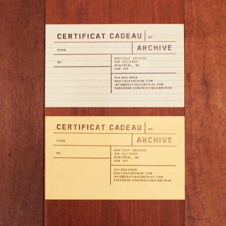 Certificat cadeau, boutique Archive, rue Villeray