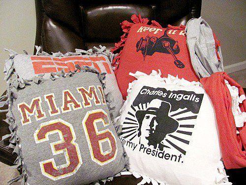 40+ kreative Ideen, um Wiederverwendung und Wiederverwendung Ihrer alten T-Shirts -> Upcycle Old-T-Shirts in Pillows