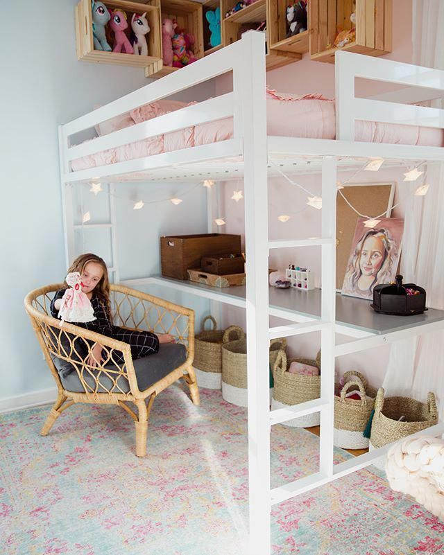 Isn T She The Cutest Simplysadiejane Used The Blush Pink Beddy S For Her Daughters Gorgeous Room Makeover Kids Bedroom Designs Girls Loft Bed Girly Bedroom