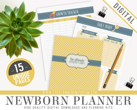 Ultimate Newborn Baby Planner Diary Organizer Kit - Instant Download - Printable DIY - 15 Unique Pages - Feeding, Sleeping, Diaper Tracker