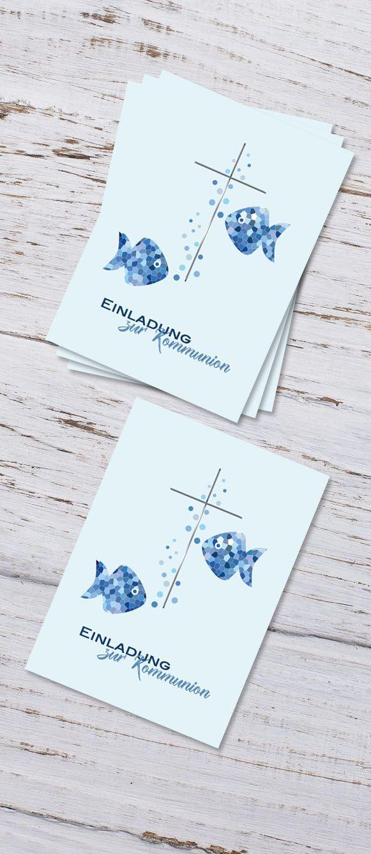 "Invitation Cards Communion Confirmation ""Fischlein"""