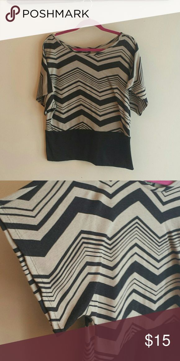 Absolutely Famous black and tan chevron shirt Fun shirt that can easily be dressed up or down. absolutely famous Tops Blouses