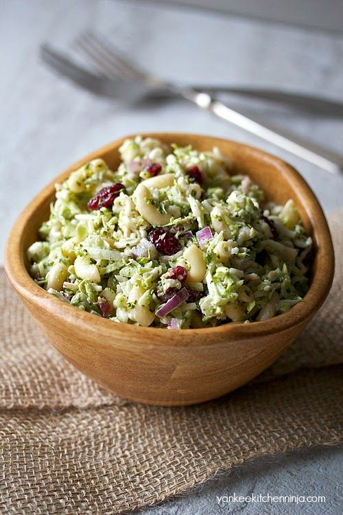 Light broccoli slaw pasta salad: 2 pot-luck staples combined into one healthy meatless meal salad