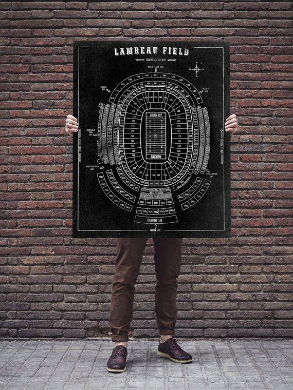 Lambeau Field Football Stadium Print Blueprint on Photo Photo, Matte Paper or CANVAS NFL Green Bay Packers Hanging Art Decor Giclee sports by ClavinInc on #Etsy