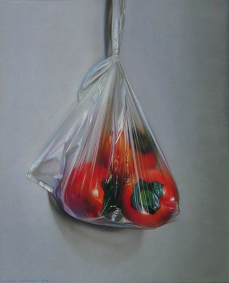 ANDREW HEMINGWAY: Still life Sharon Fruit and Plastic