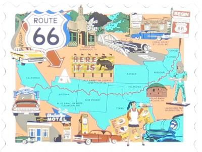 Map of Route 66, New Mexico, Texas, Oklahoma, Arizona, California, Here It Is, Blue Swallow Motel, U-Drop Inn / The Cat's Meow Village