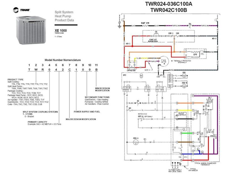 trane heat pump wiring diagram twn042c100a4