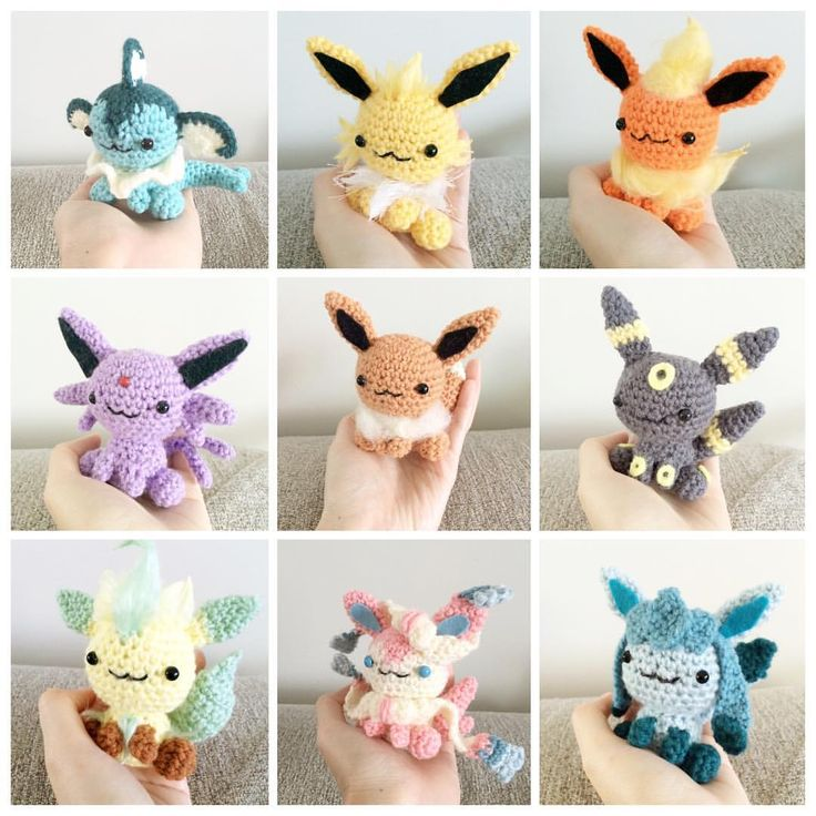 Eevees! Inspiration! Sooooo cute and easy, I assume. One pattern and 9 variations.