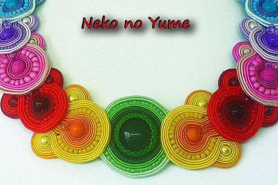 Rainbow soutache necklace  Summer Crazy