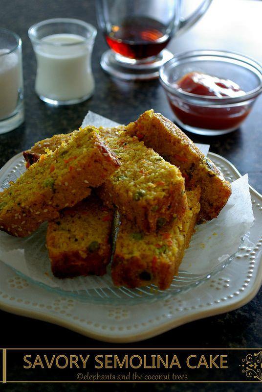 elephants and the coconut trees: Savory Semolina Cake / Vegetarian Savoury Cake