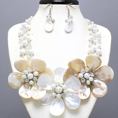 Ivory-Color Mother Of Pearl Shell Pearl & Crystal Elegant Necklace Set