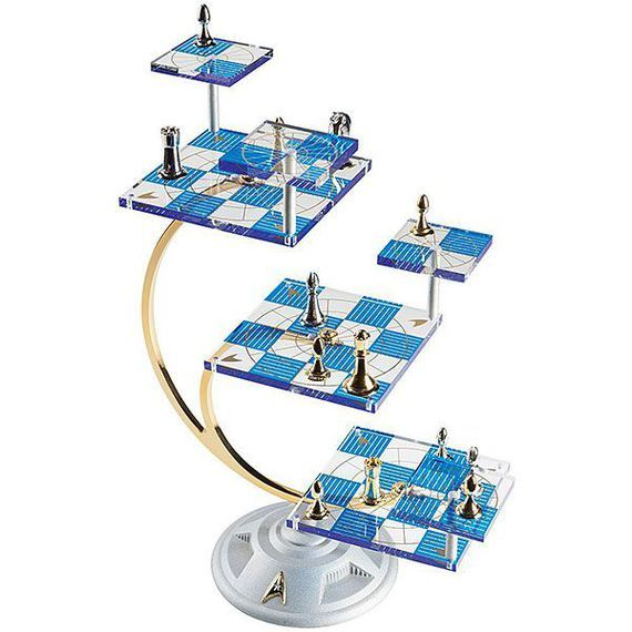Check! Star Trek tridimensional chess set makes a logical gift     - CNET  Enlarge Image  The tridimensional chess set made by the Franklin Mint is selling at Think Geek for $274.99. Photo by                                            Think Geek                                          The Star Trek version of future chess is as elegant as the curves of the Enterprise.  You may remember the multi-leveled game from this episode the shows second-ever where Captain Kirk somehow moves himself…