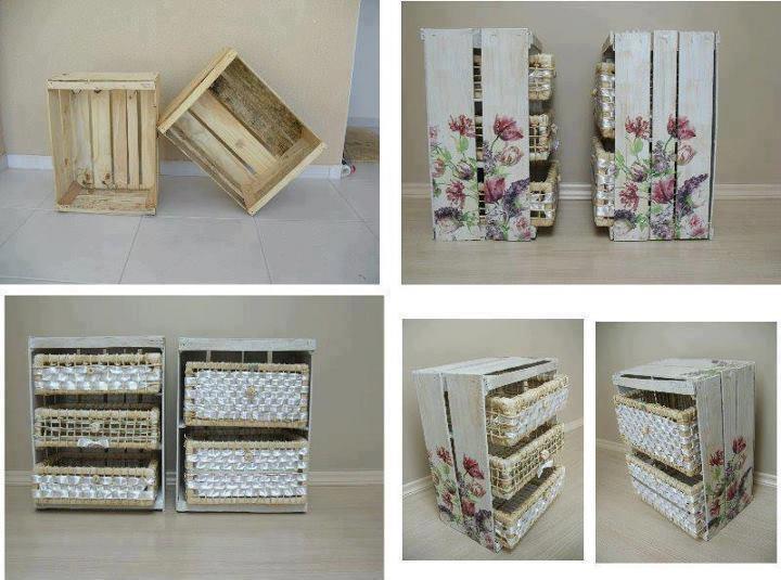Cajas De Fruta De Madera Decoradas Simple Muebles Hechos De Cajas