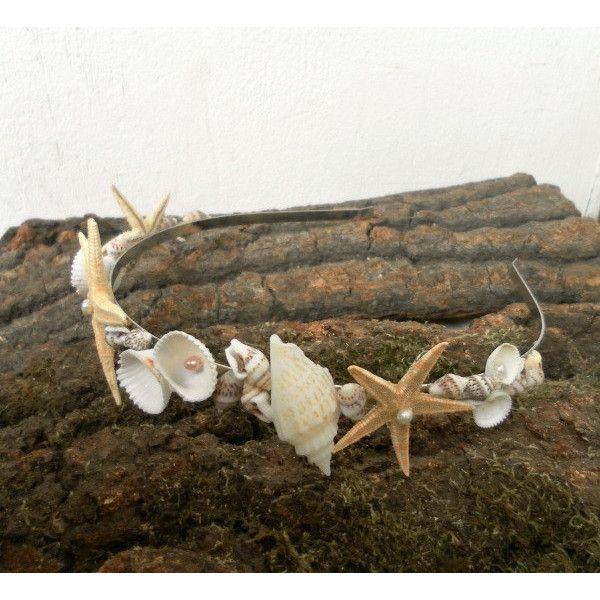 Mermaid crown, Starfish headband, Mermaid hair, Beach Wedding Crown,... (€48) ❤ liked on Polyvore featuring accessories, hair accessories, shell hair accessories, headband hair accessories, hair band headband, crown headband and starfish hair accessories