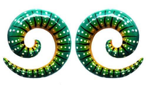 Pair-Hand-Painted-TEAL-SNAKE-WOOD-SPIRALS-GAUGES-Tunnels-Plugs-Ear-Lobe-Black