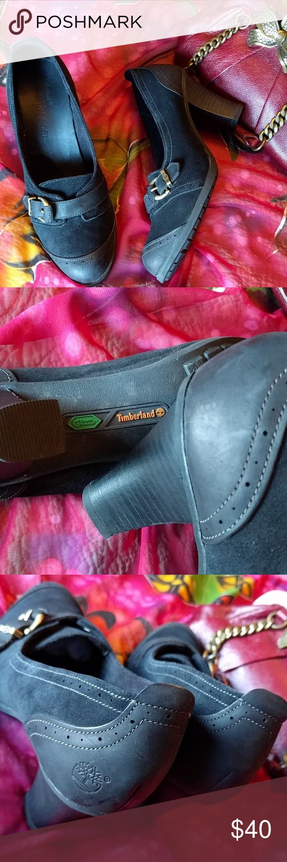 """Timberland Earthkeepers heels size 9.5 Comfortable rubbersoled 3"""" heeled suede and leather uppers shoes. Antique buckles across the top. Only wore a couple of times no real damage. Timberland Shoes Heels"""