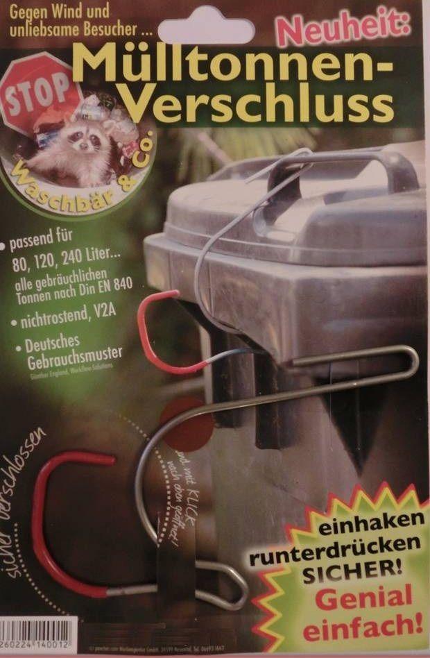 Mülltonnenverschluss Mülltonne Mülltonnenschloss gegen Waschbär Maderschreck  in Möbel & Wohnen, Haushalt, Müll- & Abfalleimer   eBay