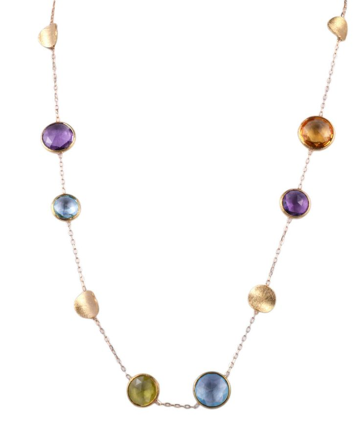 Solid Gold 18 Kt Necklace with semi precious stones. MADE IN ITALY