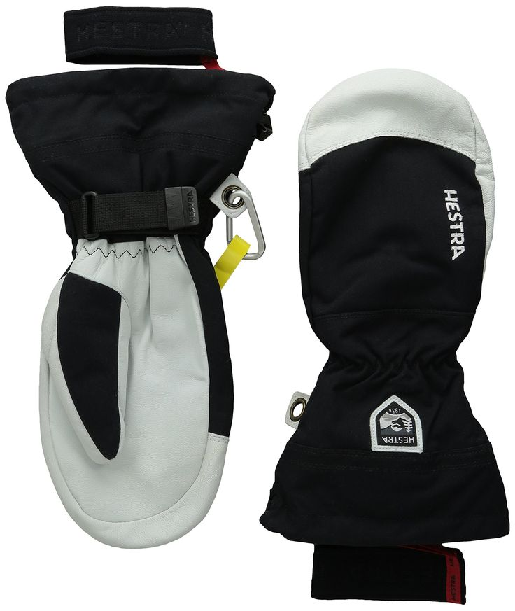 Hestra Heli Mitt, Black, 11. Long snow cuff. Removable liner. Wind/water resistant backhand.