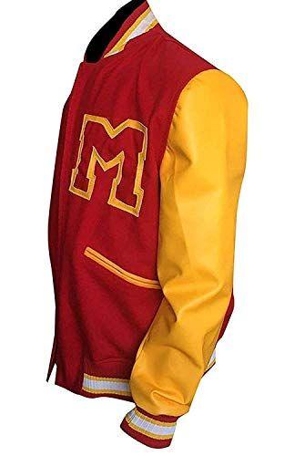 1d35b4890a2 MJ Thriller Michael Jackson Red M Logo Varsity Letterman Varsity Bomber  Jacket at Amazon Men's Clothing store: