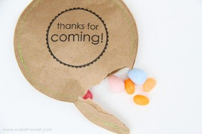 "Great party favor! Easy and cheap! Cut circles on paper, use a ""Thank you!"" stamp and sew the circle but leave room to add candy and complete sewing the circle. Done!"