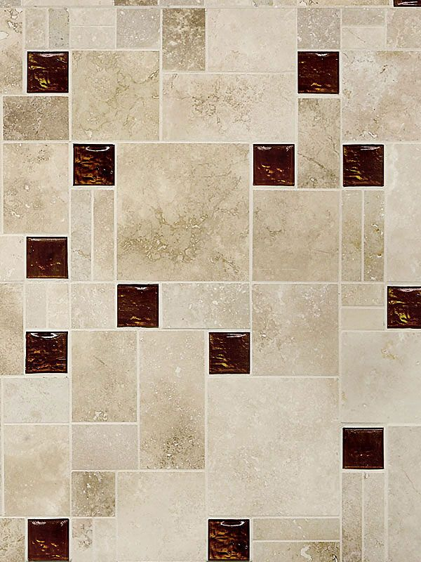 This Mixed With Hand Cut Brown Iridescent Glass Tiles Travertine Tile Dark Brown Glass Backsplash Tile Design And Maid In Usa