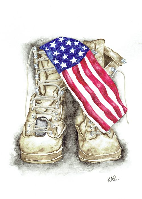 Katrina Ryan Art - Military Boots Watercolor Painting with the American Flag - Marine, Navy, Coast Guard, Air Force, Army