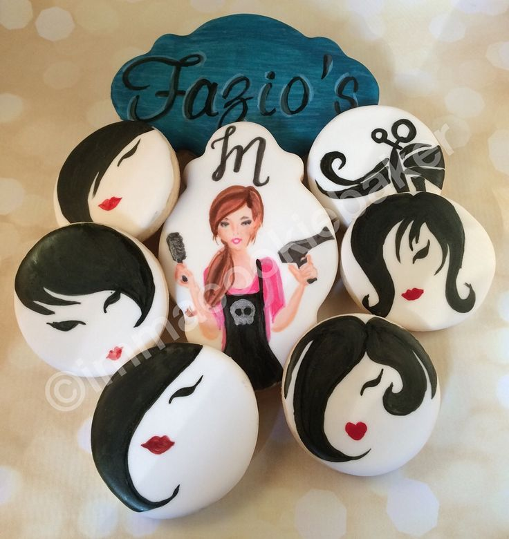 decorated sugar cookies - hair stylist - scissors - lips - plaque - hand painted