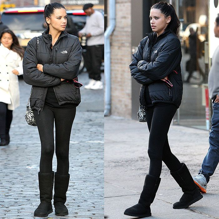 Adriana Lima uggs with leggings