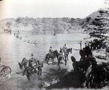 British Column crossing a river. South Africa 1901