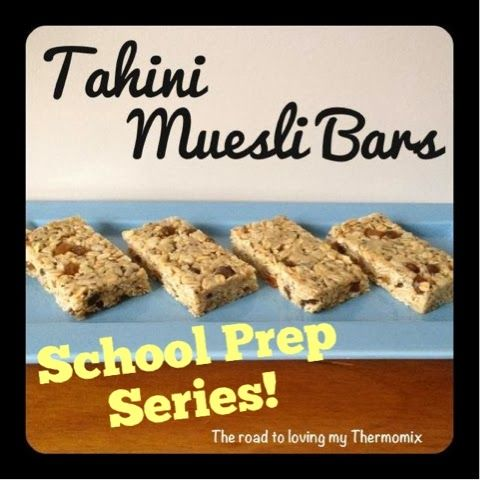 The road to loving my Thermomix: Lunchbox Prep: Tahini Muesli Bars Tahini Muesli Bars By: The road to loving my Thermomix   125g tahini 140g honey 130g rolled oats 30g rice bubbles 50g sultanas 25g sunflower seeds 15g chia seeds 10g flaxseed meal