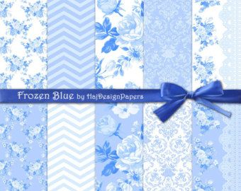 "Blue digital paper: ""Frozen Blue"", blue scrapbooking paper, floral digital paper, shabby chic, rose digital paper, blue and white, wedding"