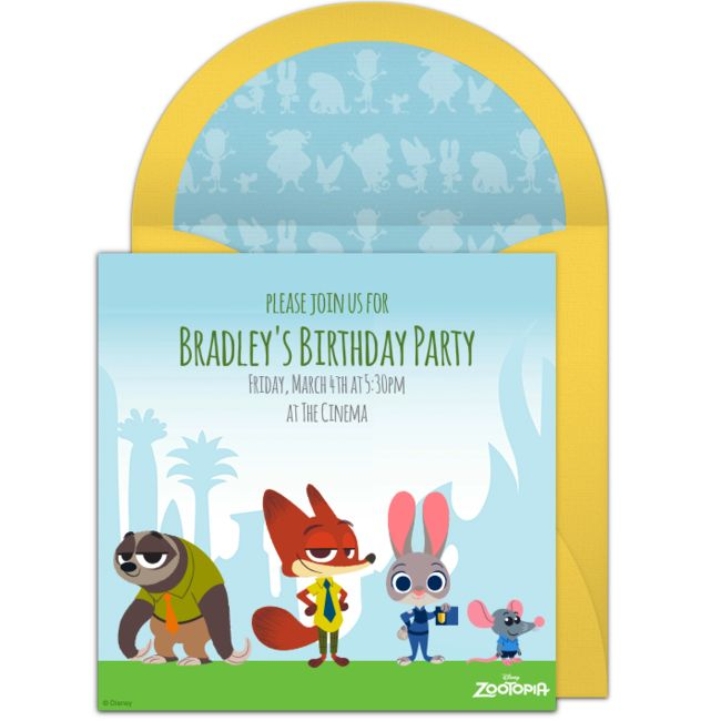 Free party invitation with a Disney Zootopia design. Love this design for birthdays, playdates, or inviting friends to see the movie.