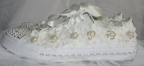 Luxury customized wedding converse with lace crystals and