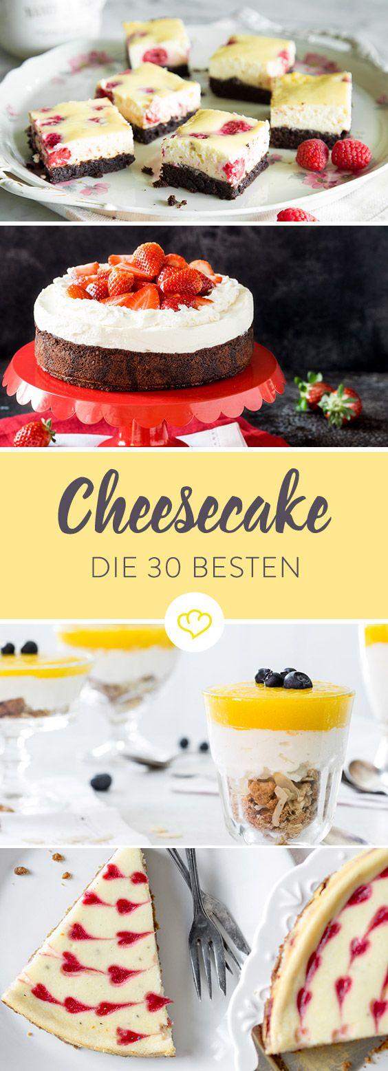 Du magst Cheesecake? Dann wirst du diese 30 Rezpete lieben. Als Muffin oder im Glas. Mit Schokolade, Keksen, Erdbeeren, Nüssen oder Mango.