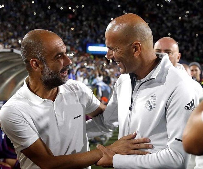 #madbien  Guardiola the inventor of modern Football : 2 Champions League Cup  in 8 years @zidane  the lucky one 2 Champions in 18 months #facts  Pep Guardiola el inventor del fútbol: 2 Champions en 8 años. Zidane el de la flor: 2 Champions en 18 meses