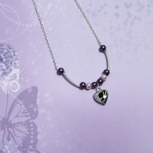 The Barbie, This necklace is made with purple and pink glass pearls, silver chain and a beautiful solid silver heart pendant.