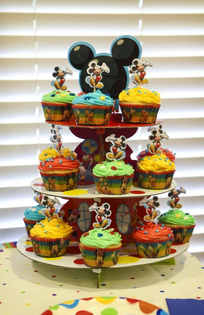 Mickey cupcakes - colorful Disney baby shower