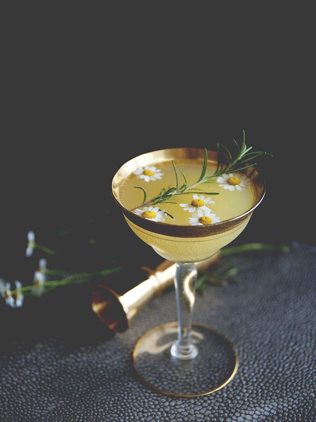 Orange Blossom - gin, chamomile and rosemary simply syrup, orange juice and prosecco