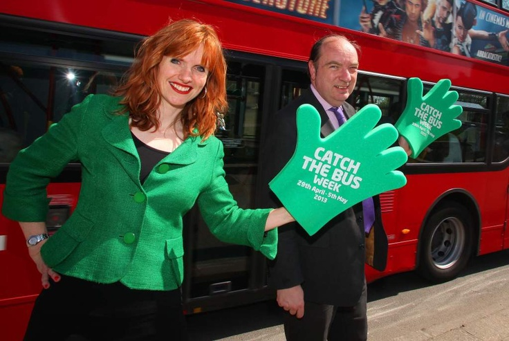 Greener Journeys CEO Claire Haigh and Transport Minister Norman Baker launching Catch the Bus Week 2013. Thanks to everyone who helped make it such a great success!