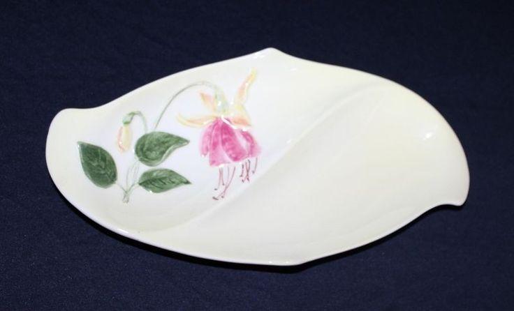 Vintage Royal Winton Divided Platter Creamy Glaze With Fuchsia Motif C 1950's #ROYALWINTON #DIVIDEDPLATTER