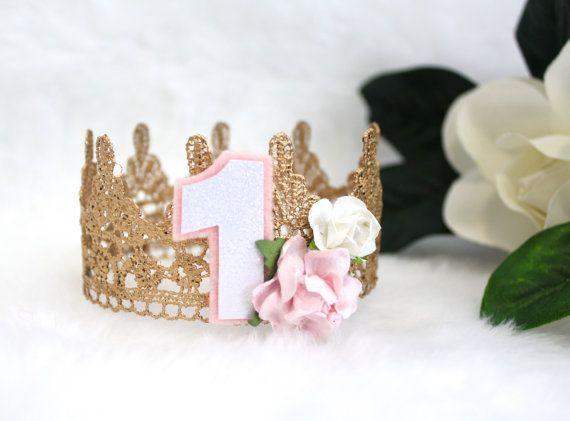 Oro argento o rosa pizzo MINI corona fascia w / fiori neonato foto Prop festa di compleanno principessa Shabby Chic torta Topper