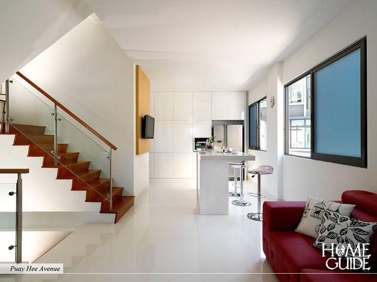 Minimalist interior design with bright color touch leaves classic retro feeling.
