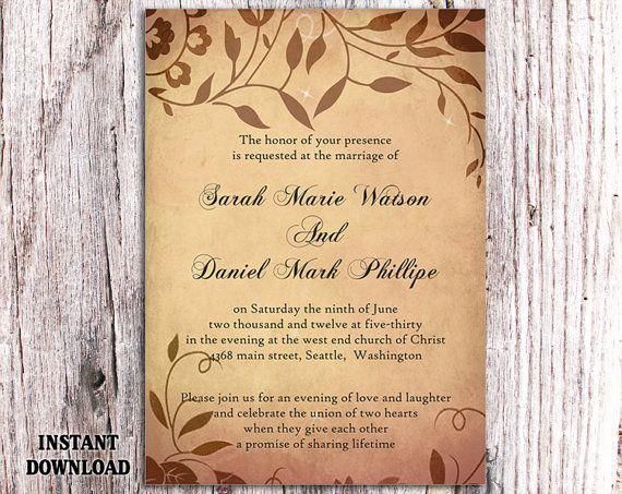 Free Rustic Wedding Invitation Templates: 17 Best Ideas About Brown Wedding Invitations On Pinterest