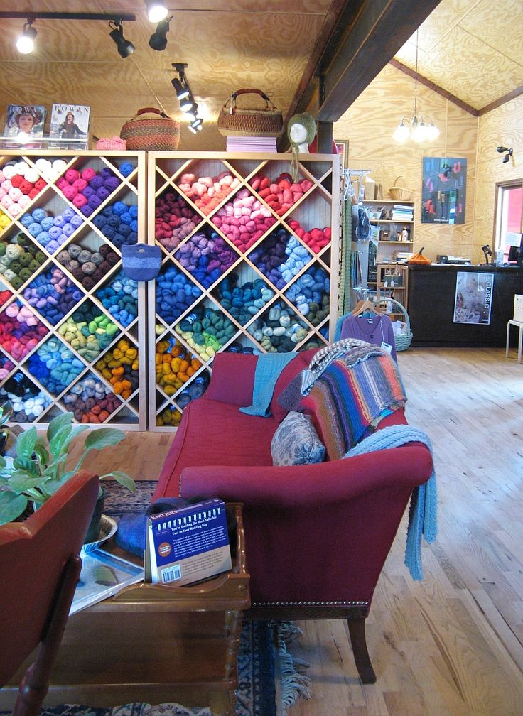 This is actually a yarn store, but I wonder where you get shelving like this?  All your yarn on display, plus it's attractive to look at.