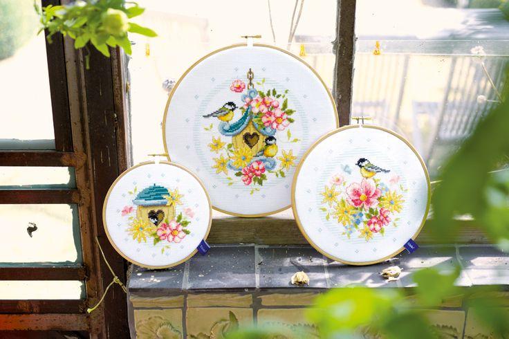 Embroidery  Cross Stitch  Handicraft  Vervaco  birds  flowers  hoop  interior