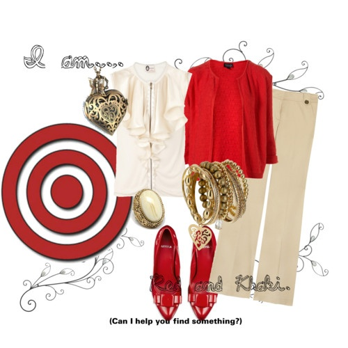 Red and khaki---so true! we really do wear this on Thursdays!!