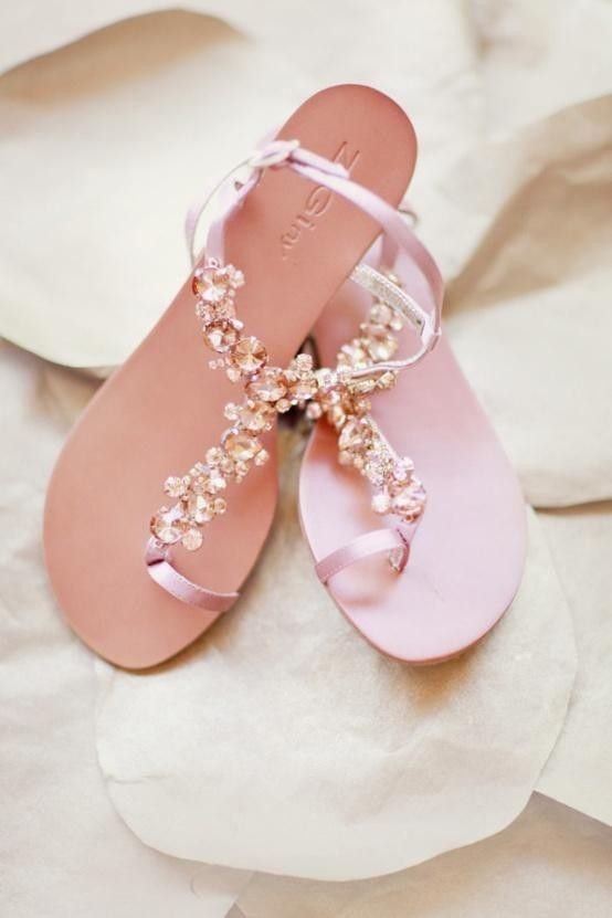 2014 Pastel Pink Beach Wedding Sandals
